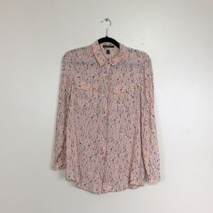 Esprit Peachy Pink Floral Long Sleeve Button Down